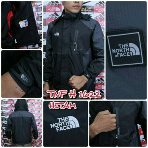 jaket gunung outdoor pria cowok TNF The North Face 1622 anti air merah