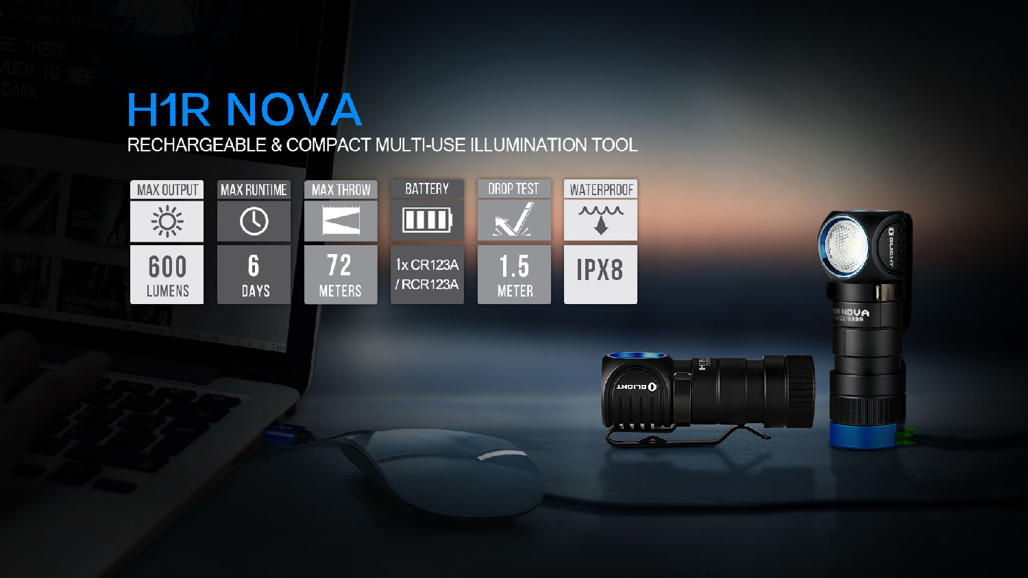 OLIGHT H1R Nova XM-L2 NW 600lm RCR123A Rechargeable Senter LED