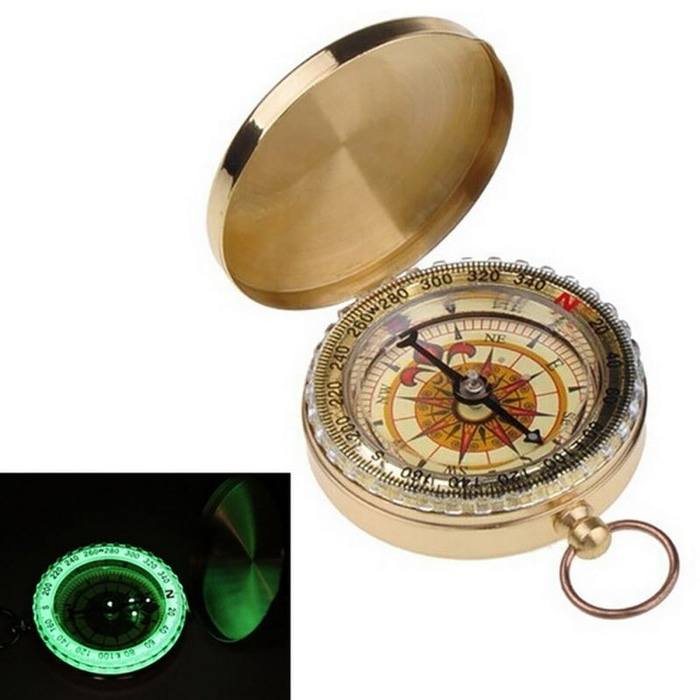 Golden Pocket Compass Kompas Navigasi Hiking Glow In the Dark Import