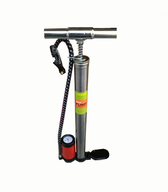Pompa Ban / pompa angin Manual Stainless tabung meter floor pump